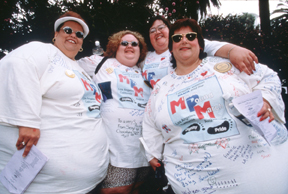 338060 24: Overweight participants wear autographed T-shirts at the Million Pound March August 15, 1998 in Santa Monica, CA. Sponsored by the National Association to Advance Fat Acceptance, the week-long convention attracted about two hundred overweight individuals who were willing to speak out against the taunting and discrimination which plagues obese people. (Photo by Gilles Mingasson/Liaison)