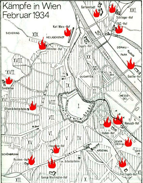 Карта Вены с отмеченными местами уличных боев.