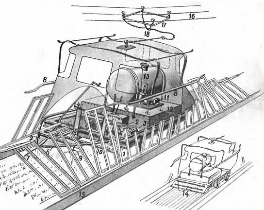 Рис. 10. Принципиальная схема обработки посевных площадей электрическим комбайном.