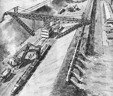 Рис. 17. Фрагмент строительства судоходно-оросительного канала в пустыне. 1950 г.