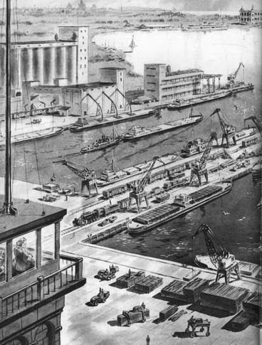 Рис. 28. Проект морского порта на канале Аральское море – Каспийское море. 1951 г.