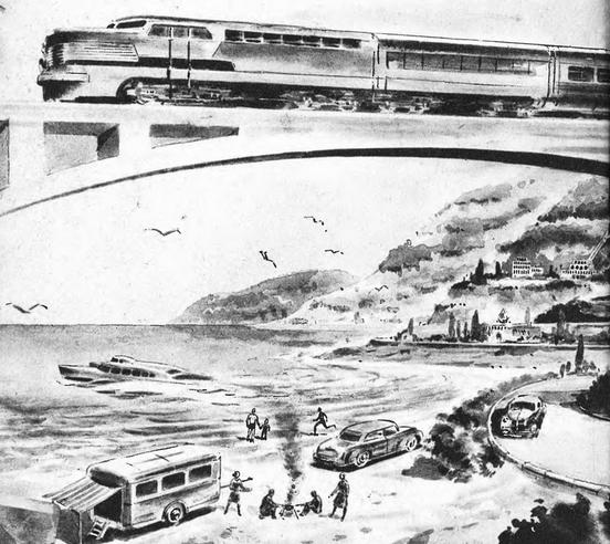 Рис. 29. Один из предварительных набросков перспективного советского локомотива. 1949 г.