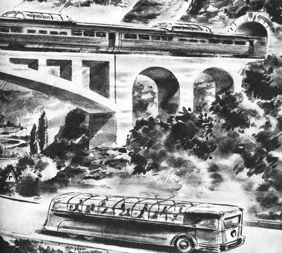 Рис. 30. Общий вид нового пассажирского вагона. 1949 г.