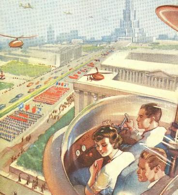 Рис. 36. Так в 1949 г. конструкторы представляли себе городское воздушное такси будущего в городах СССР.