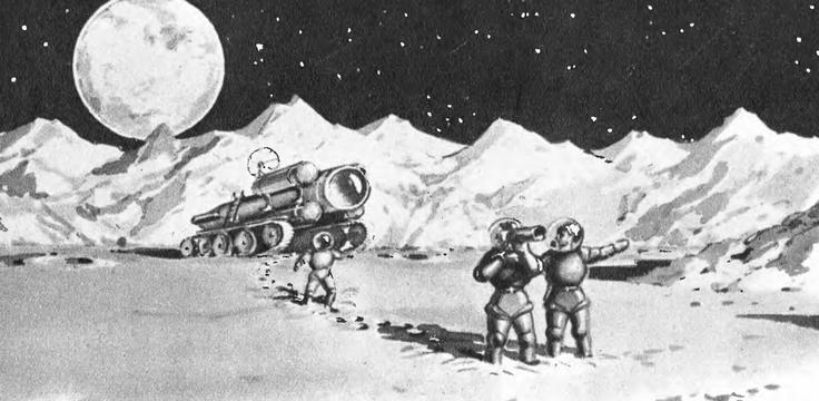 Рис. 39. Набросок к проекту советской лунной экспедиции, 1953 г.