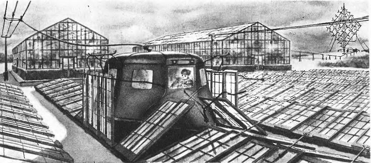 Рис. 9. Проект заполярного тепличного хозяйства с обслуживанием посевов комбайнами на электрической тяге.