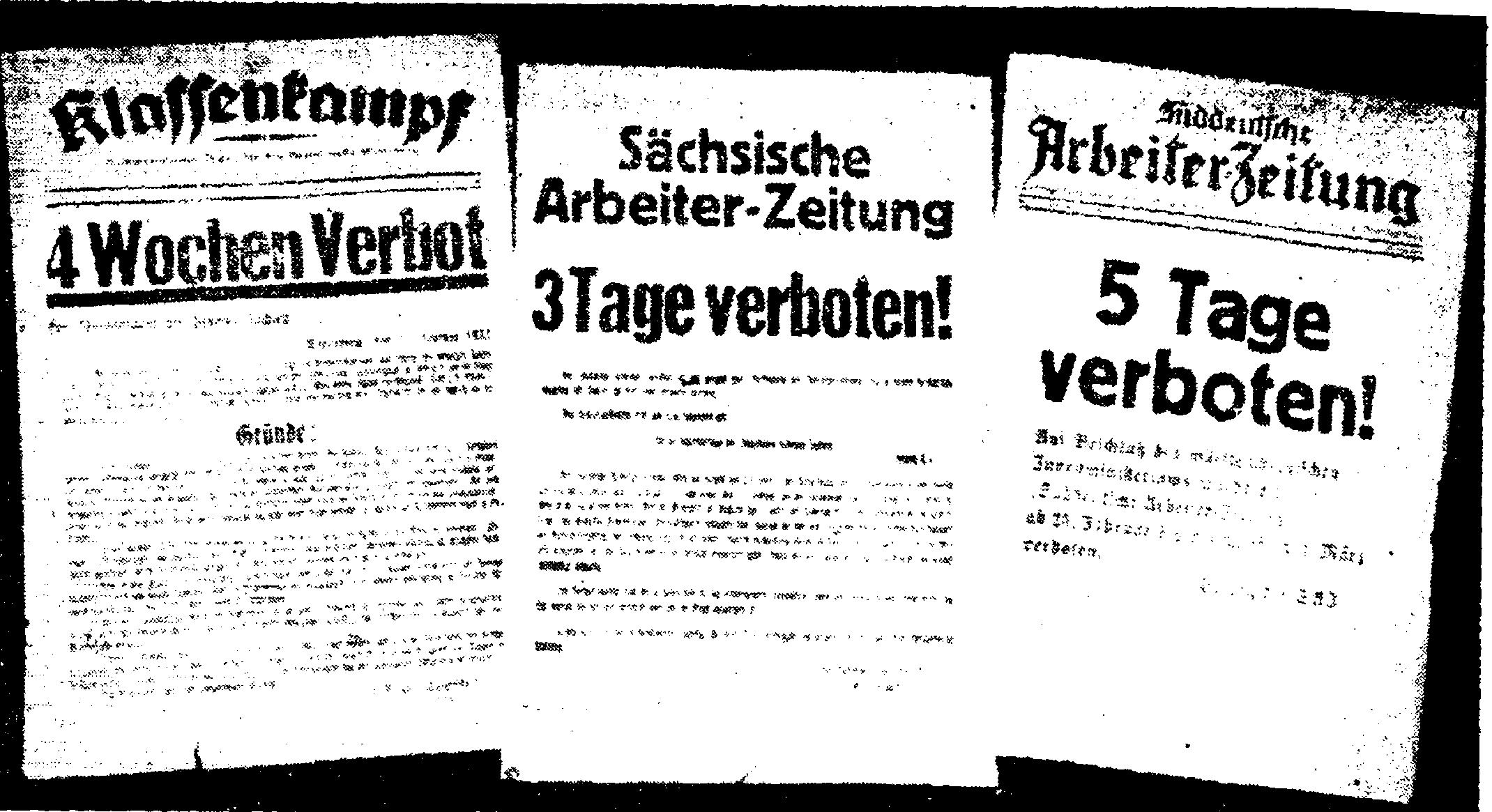 Это сообщения коммунистических газет о закрытии их фашистами